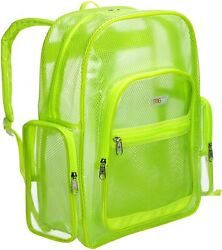 Clear PVC Transparent Green Mesh Backpacks for School Kids Beach Travel $27.99