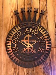 Bronze Salvation Army Plaque Sign Blood And Fire Five Star Topper Rare Heavy