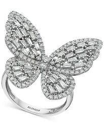 Transparent Baguette And Round Cut 1.48ct Cubic Zirconia Butterfly Statement Ring