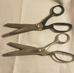 2 Vintage Kleencut Deluxe Pinking Shears - Usa