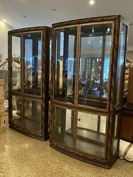 Pair Of Gorgeous Drexel Heritage Palm Court Mirrored And Lighted Display Cabinets