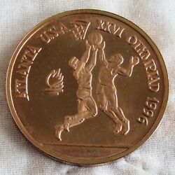 Romania 1996 Basketball Olympic Games 100 Lei Copper Proof Pattern