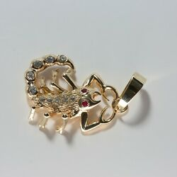14k Yellow Gold Large Scorpion Pendant Diamond And Ruby Stones Over Body
