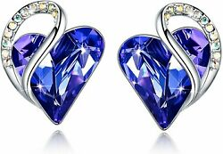 Leafael Infinity Love Heart Stud Earrings With Birthstone Crystal Womenand039s Gifts