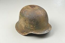 Wwii German M42 Camoflaged Army Helmet W/liner And Chinstrap