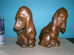 Antique basset hound puppies art statues Galvano Armor Bronze clad orig. finish