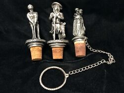 3 Vintage Pewter Wine Bottle Stoppers Man Woman Golfers And Golf Bag