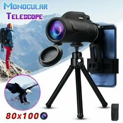 Us Bak4 80x100 Zoom Hd Lens Prism Hiking Monocular Telescope+phone Clip+tripod