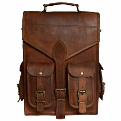 Hiking Laptop MessengerBackpack Bag Heavy Duty Genuine Pure Hide Leather Large $58.00