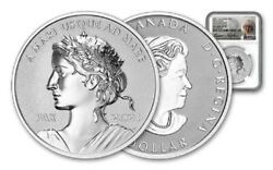 2021 Canadian Peace Dollar Ngc Reverse Pf70 Uhr Fdi Silver Signed Coin W/bag/coa