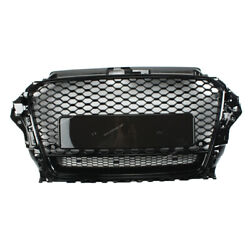 Rs3 Style Front Grille Gloss Black Frame + Honeycomb Fit For 14-16 Audi A3 S3 8v