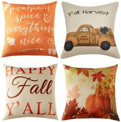 Fall Pillow Covers 18x18 Inch for Fall Decor Set of 4 Autumn Harvest Pumpkin The