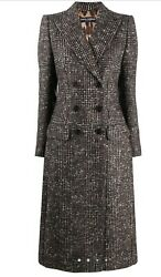 3063 Dolce And Gabbana Check Double-breasted Wool Coat Size 40