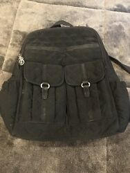 Ver Bradley Black Quilted Microfiber Backpack School Bag Travel Signature Purse $29.99