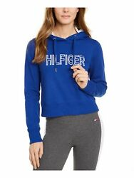 TOMMY HILFIGER Womens Blue Embroidered Long Sleeve Hoodie Size: M $19.41