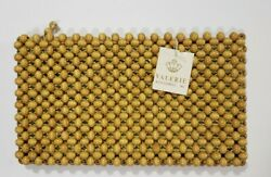 ■VINTAGE NEW■ VALERIE Accessories JAPAN Wooden MAPLE BEAD Woven CLUTCH Purse $38.00