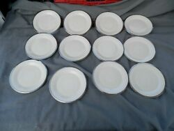 Lenox Moonspun Desert/bread Plates Lot Of 12 Ivory And White Lace And Platinum Trim