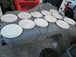 Lenox Moonspun Dinner Plates Lot Of 12 Ivory And White Lace And Platinum Trim