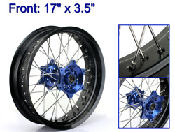 17and039and039 Supermoto Front Wheel Rim Blue Hub For Yamaha Yz250f Yz450f 14-21 16 17 18