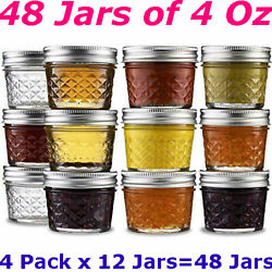 48 Pack 4 Oz Ball Regular Mouth Canning Mason Jars Quilted Crystal Glass Jelly