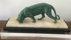 Large Antique Art Deco French Bronze Green Patinated Sculptue Of A Panther C1930