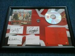 Framed Cd With Facsimile Autographs - The Beatles Sgt. Peppers Lonely Heart Band
