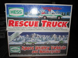 Lot Of 2 2004 Hess Sport Utility Vehicle And Motorcycles Rescue Truck 1994 New