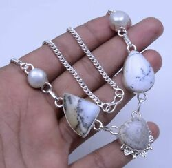 Coral Dendrite Opal Natural Gemstone Handmade Necklace 18 To 22 S304