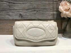 Auth Cream White Belt Flap Vintage Chest Cross Bag Quilted Round Cc Hw