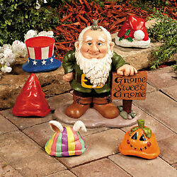 Gnome Greeter Statue w Hats Seasonal Garden amp; Outdoor Decor 10quot; High 6