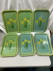 Set Of 6 Vintage Mid Century Metal Tray Yellow Daffodils Green Blue 14 X 9