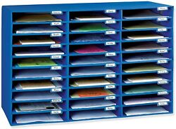 Mail Organizer Classroom Keepers Box Blue 30 Slots 001318 New Fast Shipping