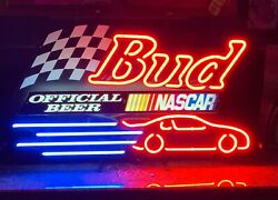 Budweiser- Bud / Nascar Neon Beer Sign Authentic And Not A Knockoff