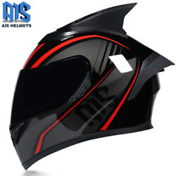 Motorcycle Helmet Full Face Moto Helmet With Personalized Horns And Long Tail