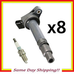 Uf507 C1596 Ignition Coil And 3473 Spark Plug For Toyota Sequoia Tundra 5.7l Set