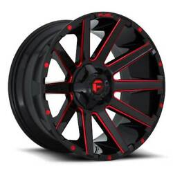 24x12 D643 Fuel Contra Gloss Black And Red Wheels 5x5/5x5.5 -44mm Set Of 4