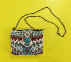 MARY FRANCES Turquoise Power BEADED MINI CLUTCH PURSE Southwest Tribal Design $59.99