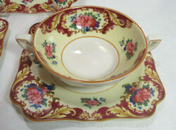 Crown Ducal Crd38 Three 3 Cream Soup Bowls/plates Pink Red Blue Floral 20's Gc