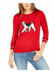 TOMMY HILFIGER Womens Red Printed Long Sleeve Crew Neck Top Size: XL $9.99