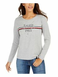 TOMMY HILFIGER Womens Gray Printed Long Sleeve Crew Neck T Shirt Top Size: L $21.99