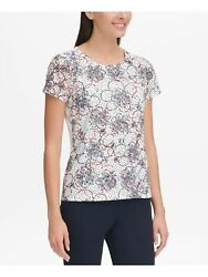 TOMMY HILFIGER Womens White Floral Short Sleeve Jewel Neck T Shirt Top Size: XL $6.83