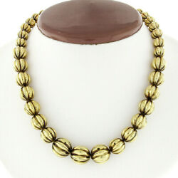 Vintage 14k Yellow Gold 16 Graduated Grooved 8.45-13.00mm Ball Bead Necklace