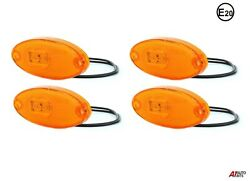 Side Amber Led Marker Oval Reflector Lights 4x Lamps Truck Trailer Lorry E Mark