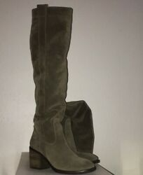 BCBG GREEN KHAKI SUEDE OVER THE KNEE BOOTS HOT Sz 9.5 10 $39.99