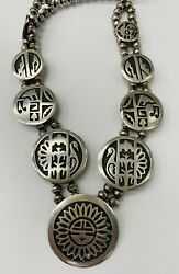 Old Pawn Native American Overlay Sterling Silver Symbol Necklace