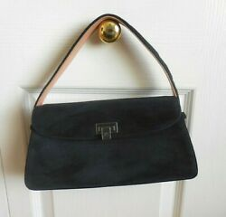 CHANEL Suede Leather Navy Blue Double Compartment Flap Handbag Small Size $649.00