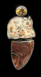 Akr Sterling Silver Fossilized Agate / Citrine And Cat Netsuke 2 1/2 Pendant