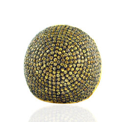 18k Gold 925 Sterling Silver Pave Yellow Sapphire Dome Ring Fashion Jewelry