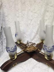 Vintage 5pc Blue Willow Wooden Ceiling Electric Lamp 20in H X 20in W X 12in