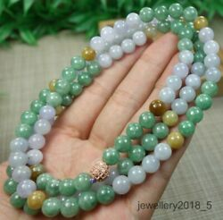 Certified Geen+purple+yellow 100 Natural A Jadeite Jade Necklace项链 31 Inches